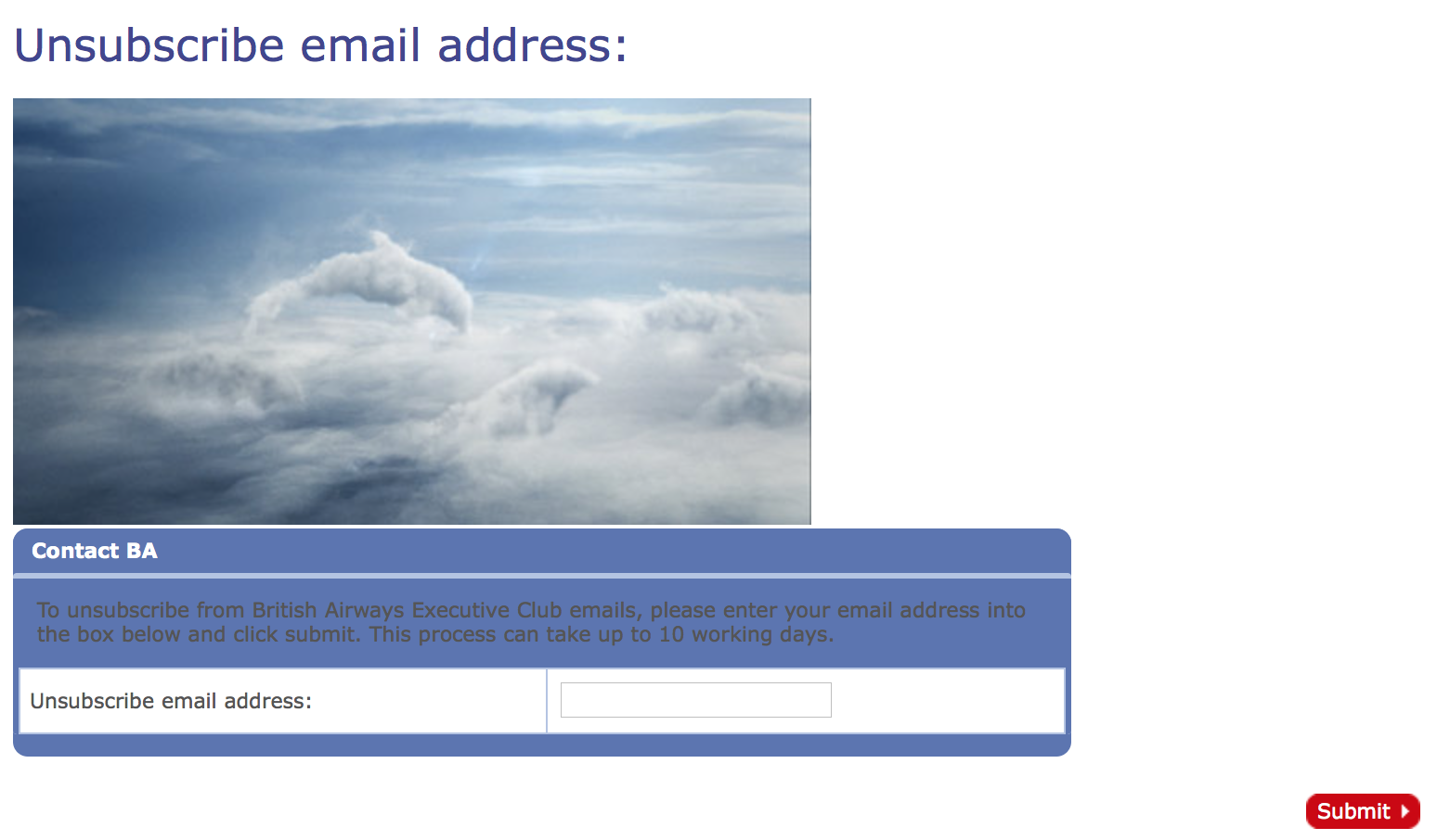 British Airways unsubscribe form