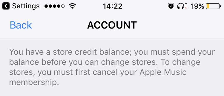 Apple ID change country warning