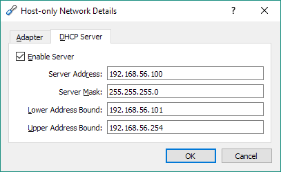VirtualBox Preferences DHCP