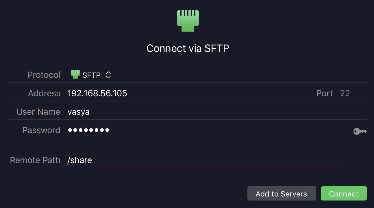 Transmit SFTP connection