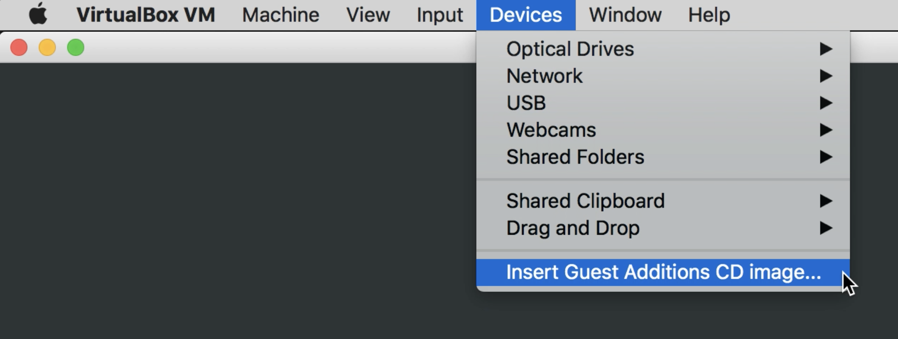 VirtualBox, inserting Guest Additions