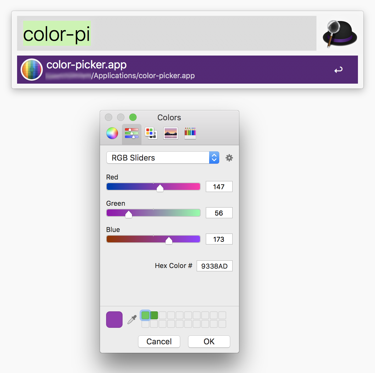 Mac OS color picker app