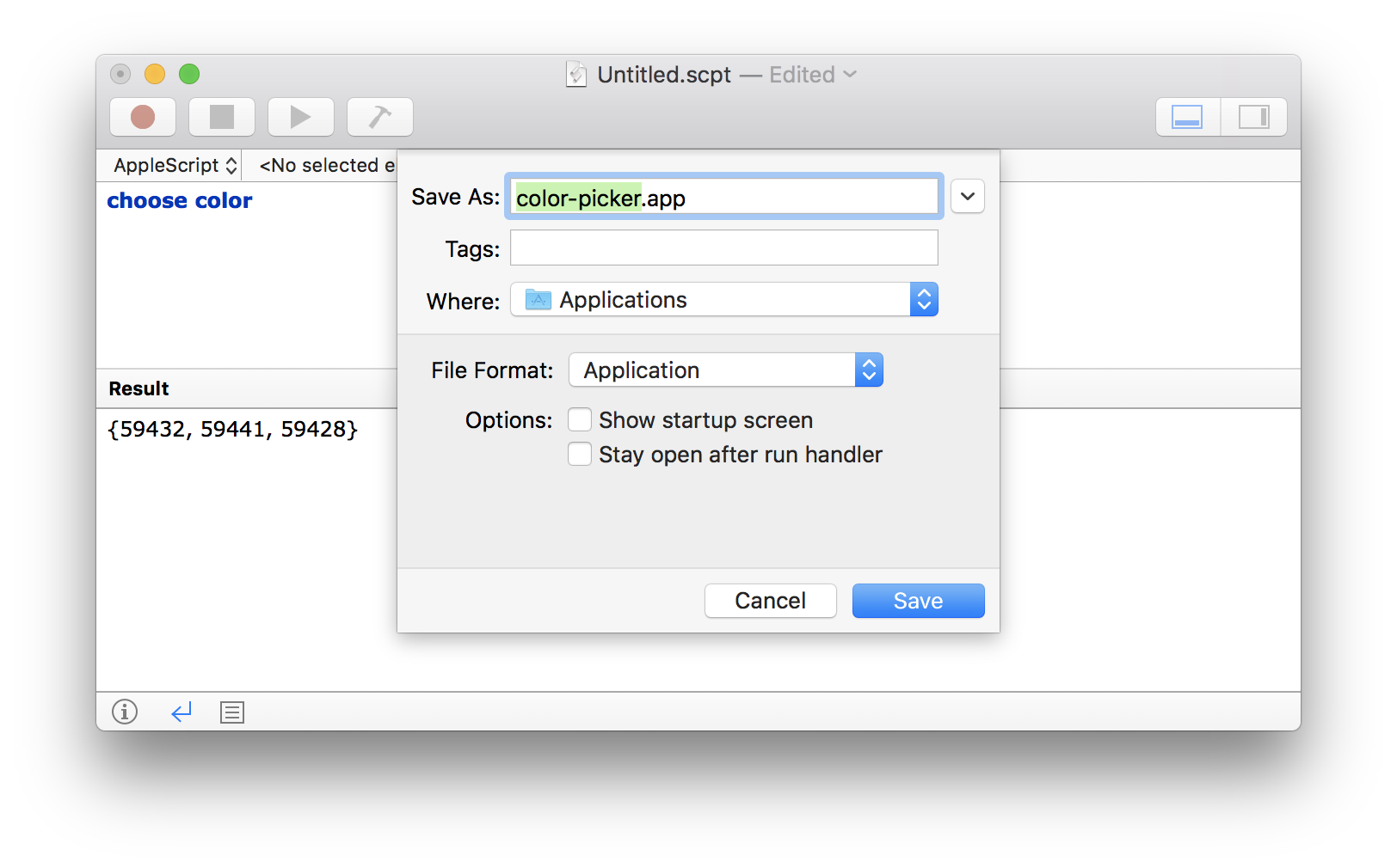 Mac OS AppleScript save as Application