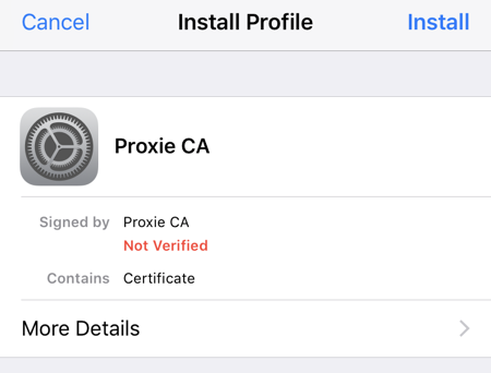 Proxie certificate install