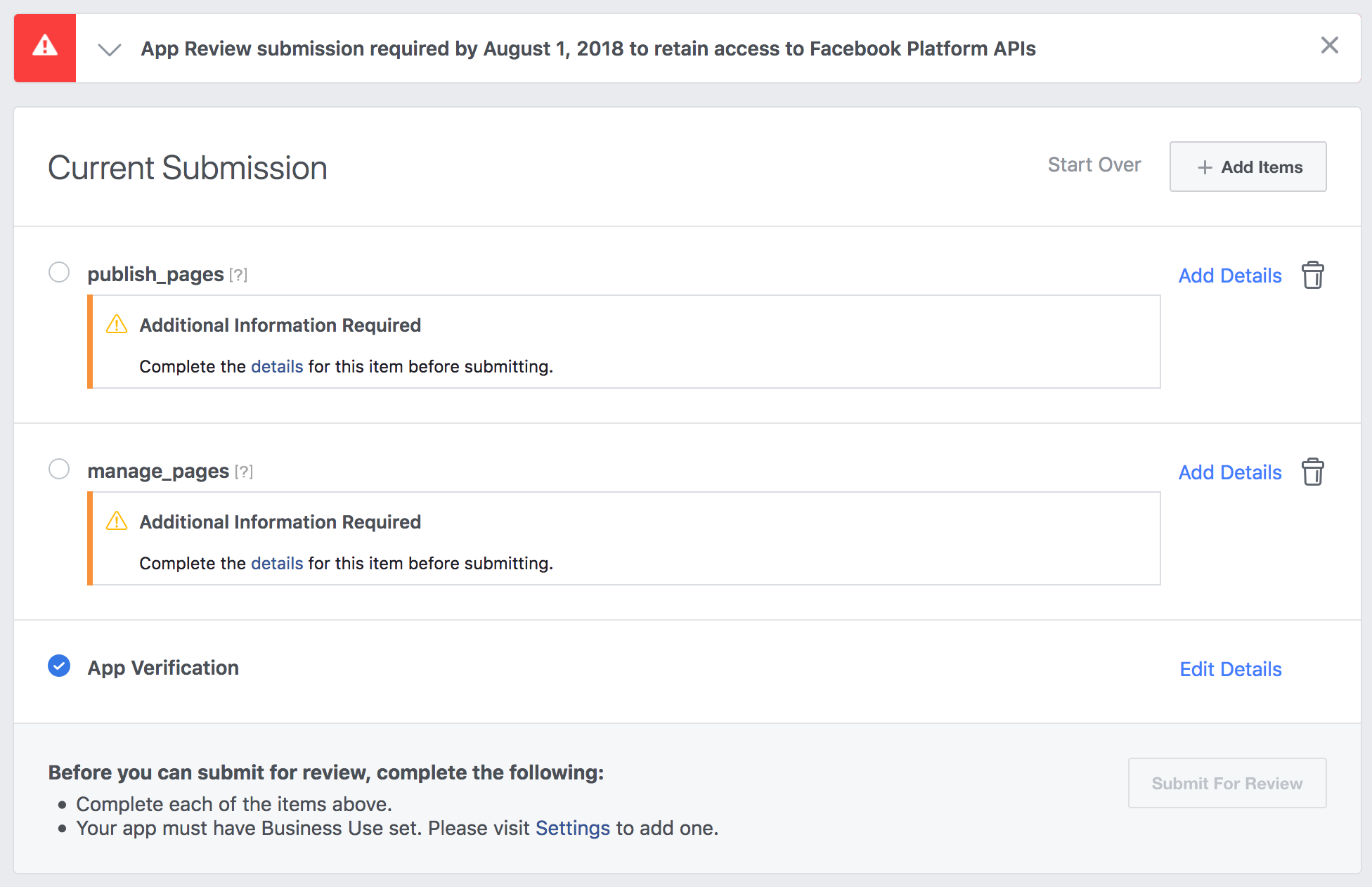 Facebook manage and publish permissions