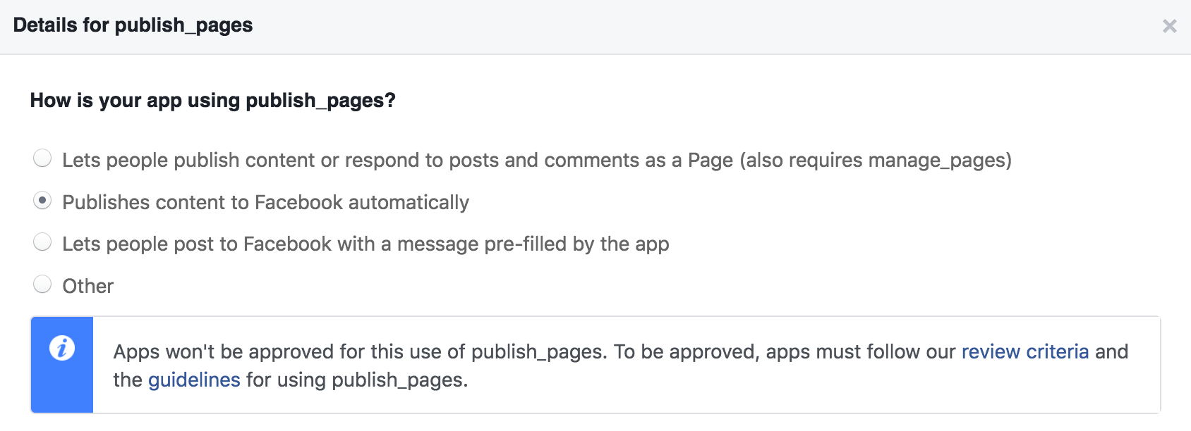 Facebook no approve for publishing