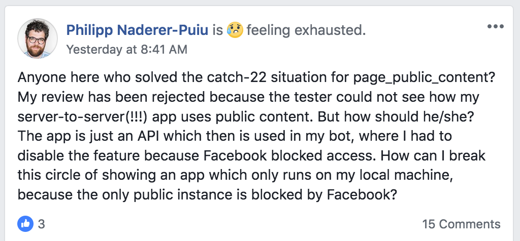 Facebook App Review for a server-to-server interaction