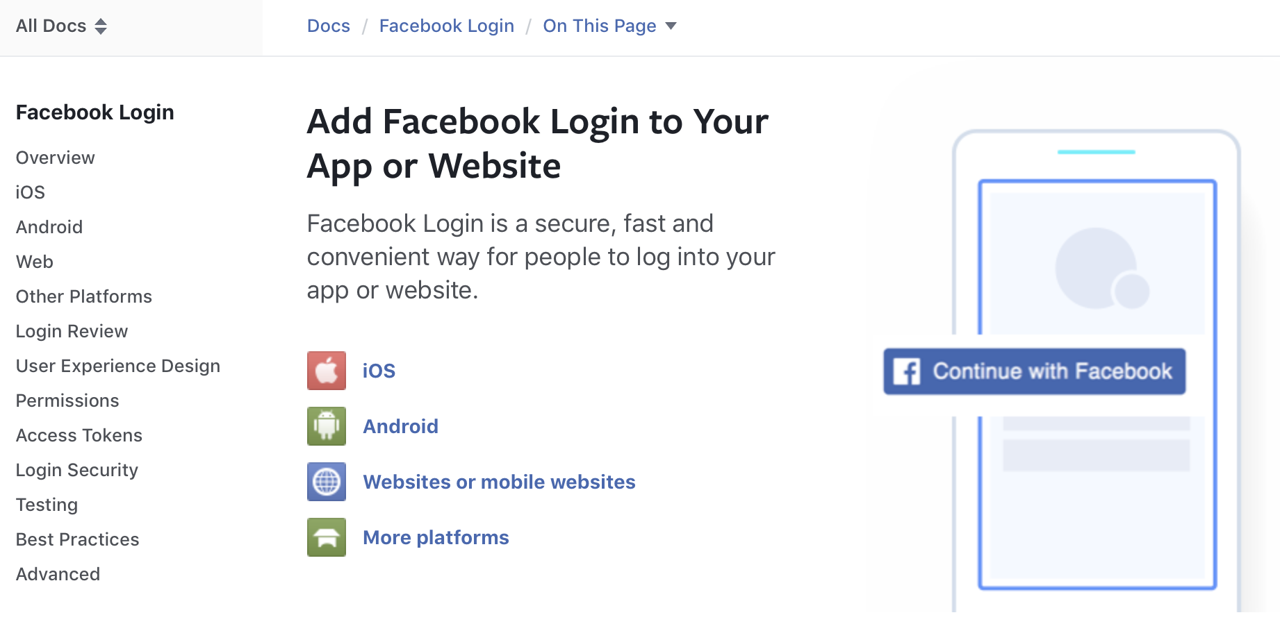 Facebook Login documentation
