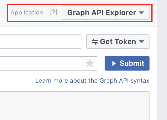 Graph API Explorer, choosing application