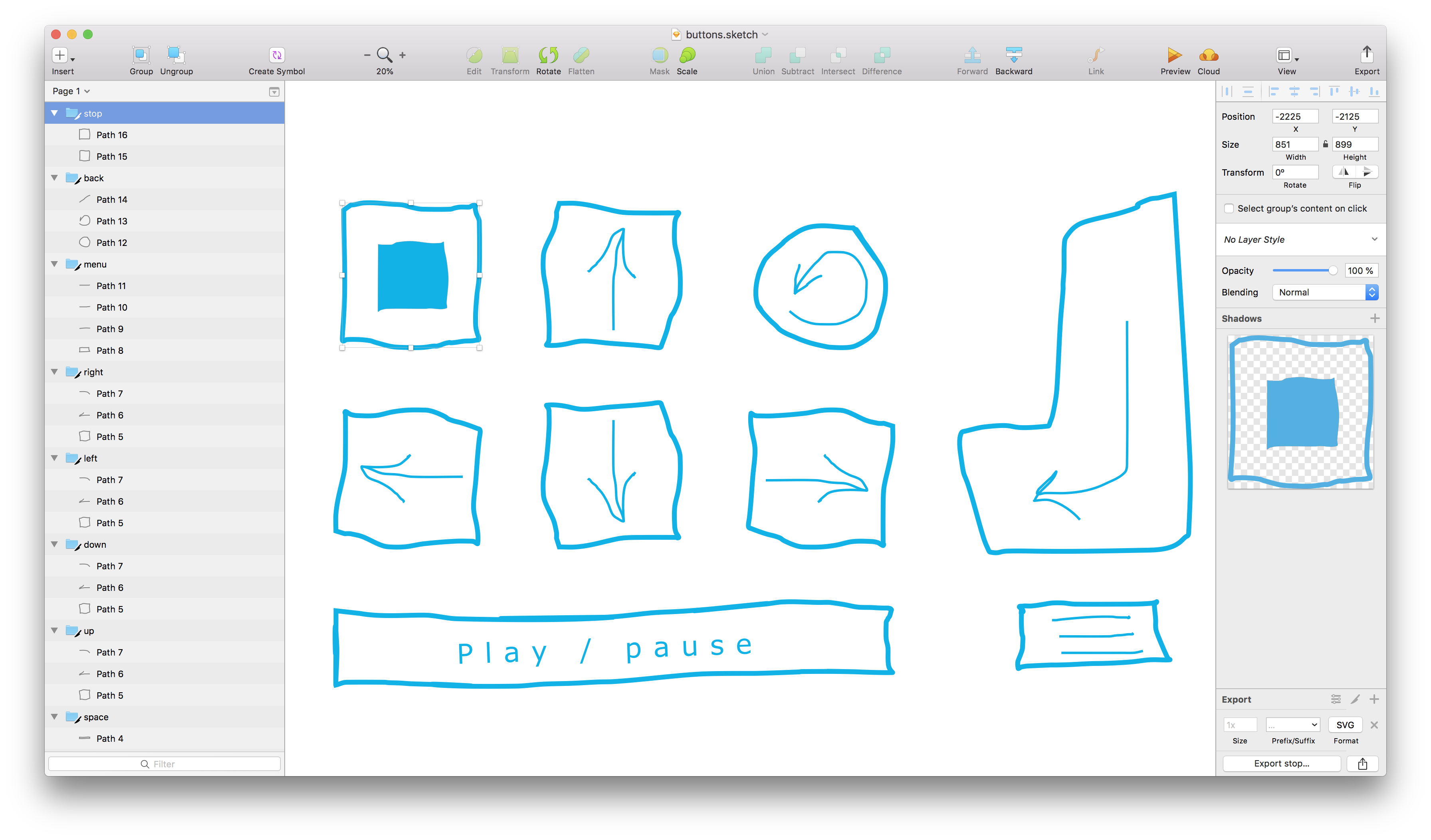 Sketch, creating buttons