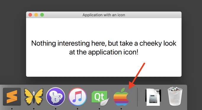 Application icon at the Mac OS dock