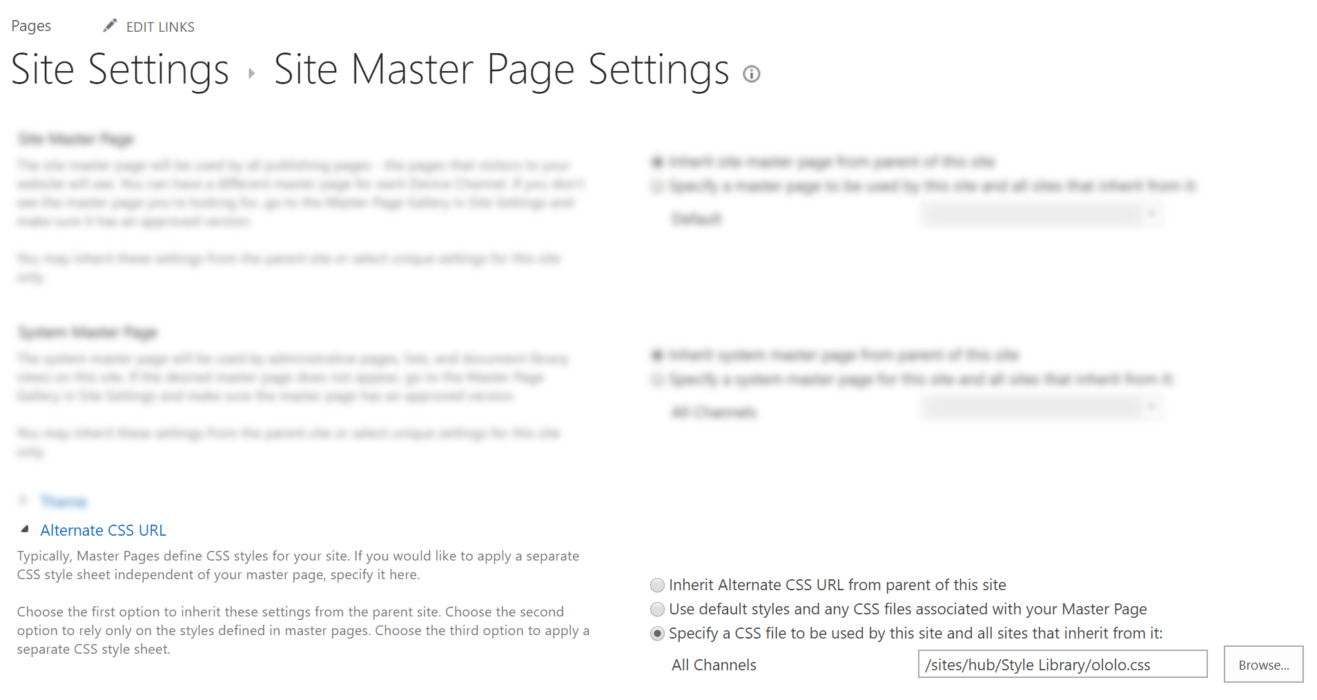 SharePoint masterpage settings