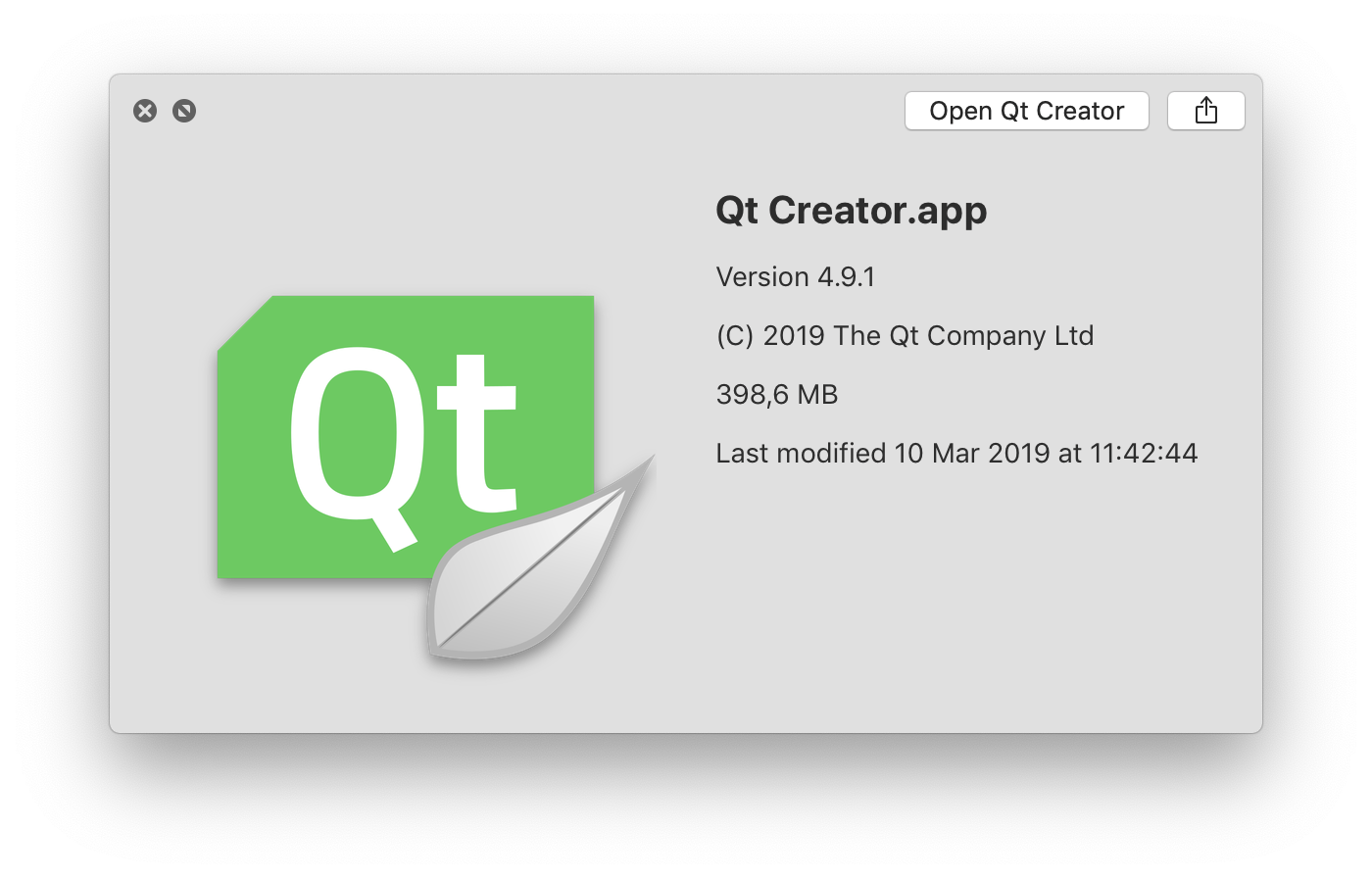 Qt Creator 4.9.1 with nice icon