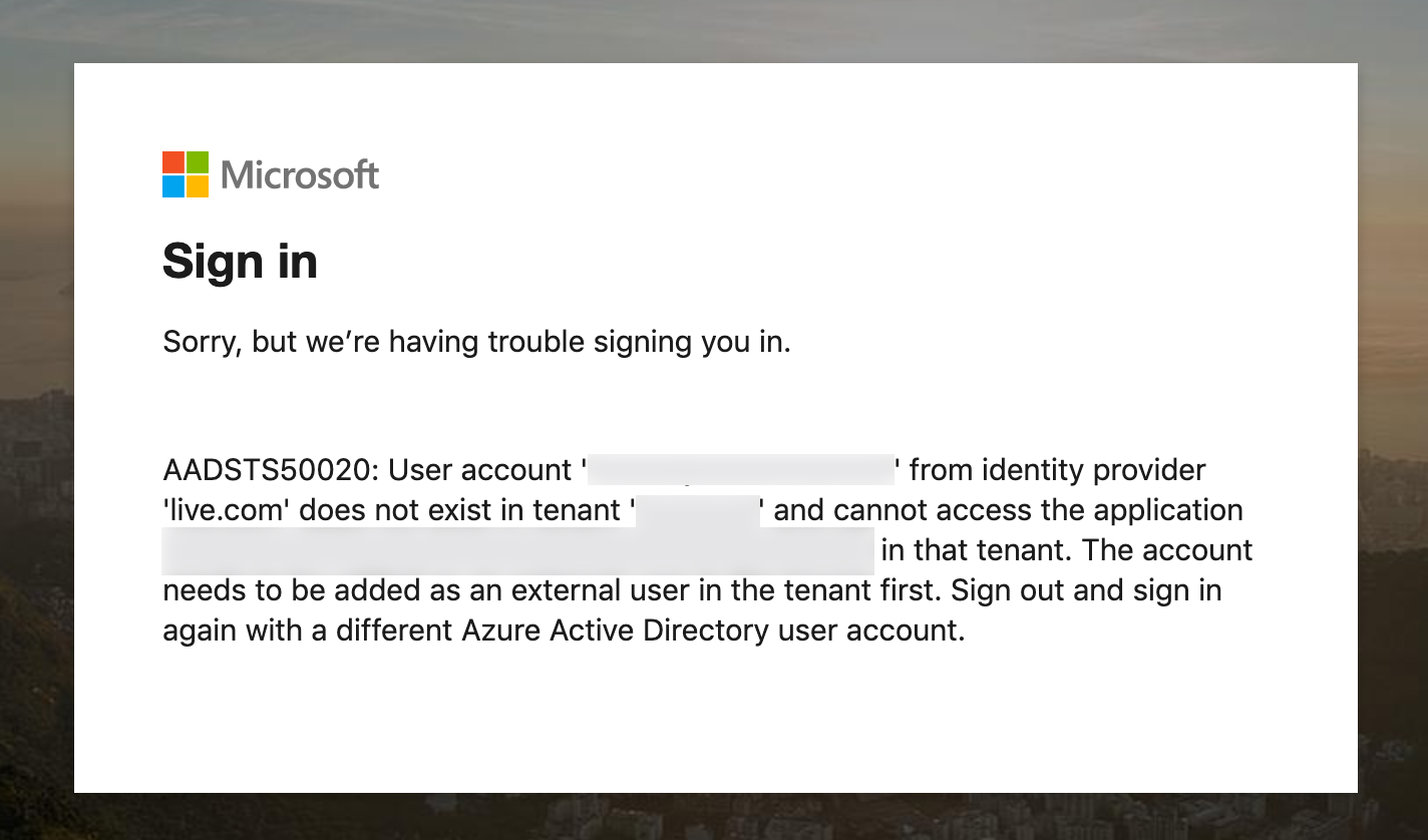 Microsoft login with external account
